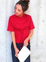 CHILLEコルセット風レースアップTシャツ