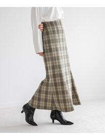 LOWRYS FARM チェックマーメイドスカート ローリーズファーム スカート ロングスカート ベージュ ネイビー ブラック【送料無料】