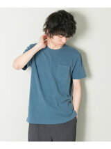 製品染めフェードカラーポケットTシャツ