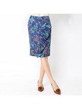 バスケットフラワープリントフリルデザインタイトスカート