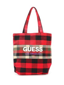 【SALE/50%OFF】GUESS (M)LOGO BLOCK CHECK TOTE BAG ゲス バッグ トートバッグ レッド【送料無料】