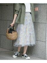 チュールスカート×フラワープリントセットスカート