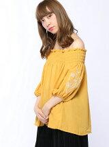 RETRO GIRL/オフショル 袖刺繍 BL