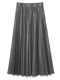 SNIDEL レザープリーツスカート スナイデル スカート ロングスカート グレー ブラック ブラウン【送料無料】