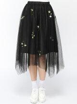 【Dukkah】(L)チュールフラワー刺繍イレヘムスカート