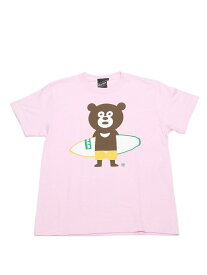 BEAMS T 【SPECIAL PRICE】BEAMS T / Surfboard Bear Tee ビームスT カットソー Uネックカットソー ピンク ホワイト