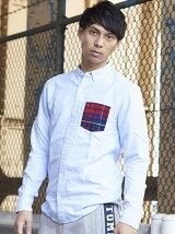 (M)チェックポケットシャツ