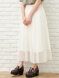 【SALE/69%OFF】INGNI チュールミディ/SK イング スカート プリーツスカート/ギャザースカート ホワイト ブラック グレー ブラウン