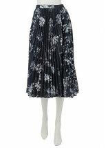 Blurryフラワーパターンmixプリーツスカート