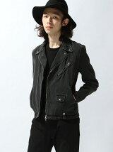 【WEGO】【BROWNY VIN】(M)デニムライダースジャケット