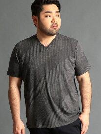 【SALE/46%OFF】HIDEAWAYS(大きいサイズ) <大きいサイズ>切り替えVネックカットソー ニコル カットソー Tシャツ ブラック ピンク ホワイト オレンジ