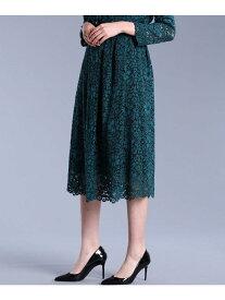 ef-de L size 《大きいサイズ》総レースギャザースカート《MaglieWhite》 エフデ エルサイズ スカート【送料無料】