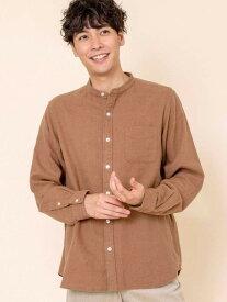 【SALE/20%OFF】coen ウィンターリネンバンドカラーシャツ# コーエン シャツ/ブラウス 長袖シャツ ベージュ ホワイト グリーン ネイビー