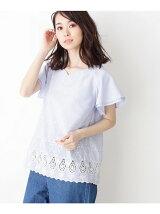 ハートネック裾刺繍ブラウス