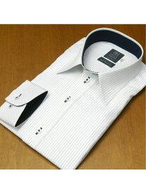 BRICK HOUSE by Tokyo Shirts (M)形態安定ノーアイロン 長袖 レギュラー 白×ネイビーストライプ 標準体 トーキョーシャツ シャツ/ブラウス 長袖シャツ ブルー【送料無料】