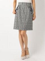 チェック刺繍タイトスカート