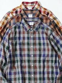 【SALE/50%OFF】coen ウインターリネンチェックシャツ(WEB限定サイズXS有り) コーエン シャツ/ブラウス 長袖シャツ グレー ホワイト ブラウン