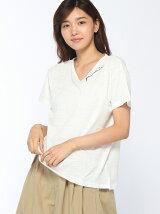 アメリカ綿スラブ刺繍VネックTシャツ