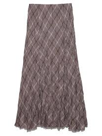 Mila Owen ウール混ワッシャーSK ミラオーウェン スカート プリーツスカート/ギャザースカート ブラウン ホワイト パープル【送料無料】