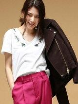 [DILIGENCE PARLOUR]フラワー刺繍Tシャツ