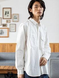 【SALE/55%OFF】coen ワークシャツ コーエン シャツ/ブラウス 長袖シャツ ホワイト ネイビー