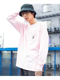 WEGO (M)別注カンゴールポケットロンT ウィゴー カットソー Tシャツ ピンク ブラウン