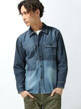 (M)NAVAL Select/デニムパネルシャツアウター