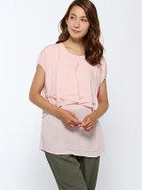 (W)ダブルフロント半袖ブラウス・シャツ