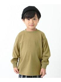 devirock BIGシルエット袖リブ長袖Tシャツ デビロック カットソー Tシャツ ブルー ベージュ パープル グリーン グレー ブラック ホワイト ブラウン