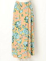 Drawing flowerプリントラッププリーツスカート