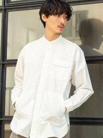 【SALE/50%OFF】coen ワークバンドカラーロングシャツ コーエン シャツ/ブラウス 長袖シャツ ホワイト ネイビー