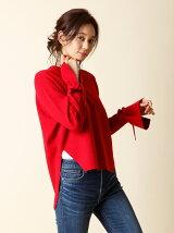 【秋の新作】《INED》バックロングワイドニットセーター