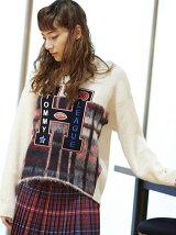 (W)ロゴアップリケクルーネックセーター