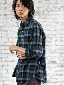 【SALE/50%OFF】coen カラーブロックネルチェックシャツ(WEB限定サイズXS有り) コーエン シャツ/ブラウス 長袖シャツ グリーン ベージュ
