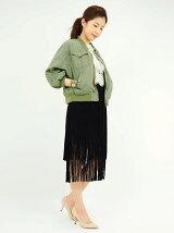 スウェードフリンジタイトスカート
