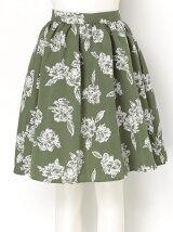 【W】2トーンフラワーフレアースカート