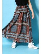 パネルスカーフ柄ランダムロングスカート