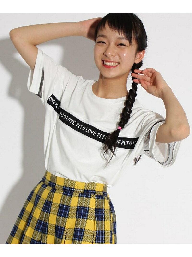PINK-latte 胸ロゴテープ半袖 Tシャツ ピンク ラテ カットソー