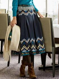 【SALE/15%OFF】Viaggio Blu 千鳥プリントスカート ビアッジョブルー スカート ロングスカート ネイビー ブラウン【送料無料】