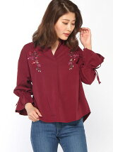 ピーチ刺繍スキッパーシャツ