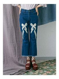 【SALE/60%OFF】merry jenny リボン刺繍デニムパンツ メリージェニー パンツ/ジーンズ【RBA_S】【RBA_E】【送料無料】