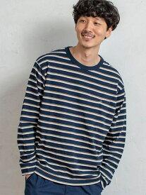 【SALE/20%OFF】coen ヘビー天竺ボーダーロングスリーブTシャツ コーエン カットソー Tシャツ ホワイト ネイビー