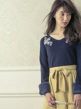 衿刺繍袖ファーニット