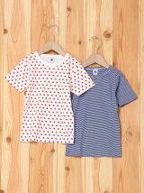 (K)プリント&ミラレ半袖Tシャツ2枚組