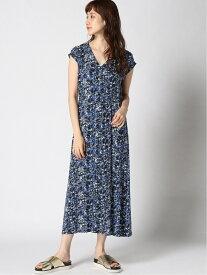 three dots Travel line long dress / トラベルライン ロングドレス スリードッツ ワンピース ロングワンピース/マキシワンピース ブルー ブラウン【送料無料】