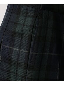 ウール綾チェック スカート (リボン付き)