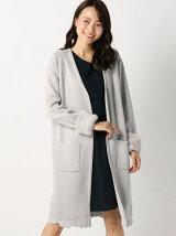 裾刺繍袖ファーロングカーディガン