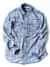(M)NAVAL Select/インディゴチェックウエスタンシャツ