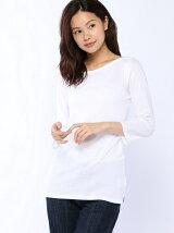 (W)ループロゴボートネック7分袖Tシャツ・カットソー