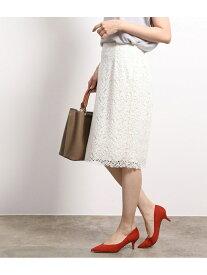 【SALE/20%OFF】ROPE' ケミカルレースタイトスカート ロペ スカート スカートその他 ホワイト グリーン ネイビー【送料無料】